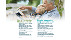 Reading Tips; grandfather with grandchild resting on his chest enjoying a book